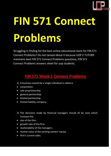 FIN 571 Connect Problems | FIN 571 Connect Problems Questions &   Answers @ UOP E Tutors