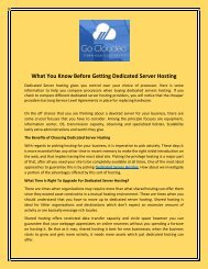 What You Know Before Getting Dedicated Server Hosting
