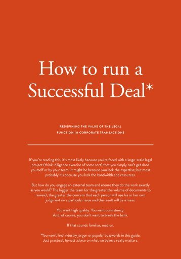 How to run a Successful Deal*