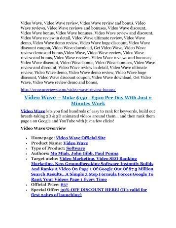 Video Wave review & SECRETS bonus of Video Wave