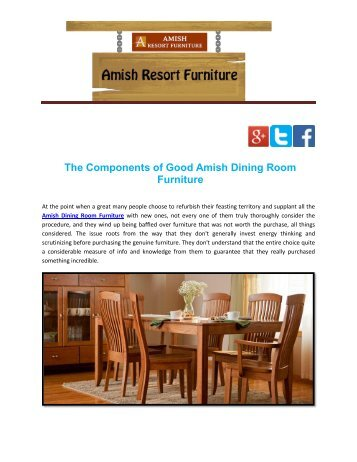 The Components of Good Amish Dining Room Furniture
