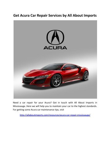 Get Acura Car Repair Services by All About Imports