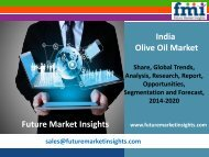 India Olive Oil Market Segments, Opportunity, Growth and Forecast By End-use Industry 2014-2020