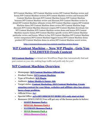WP Content Machine Review & HUGE $23800 Bonuses