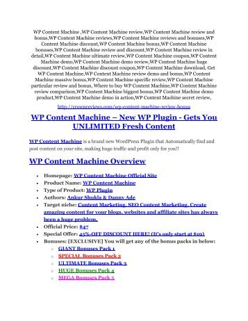 WP Content Machine Review & HUGE $23800 Bonuses
