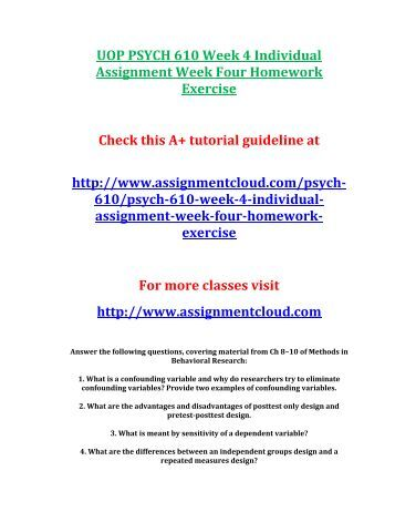 PSYCH 610 Week 5 Individual Assignment Homework Exercise