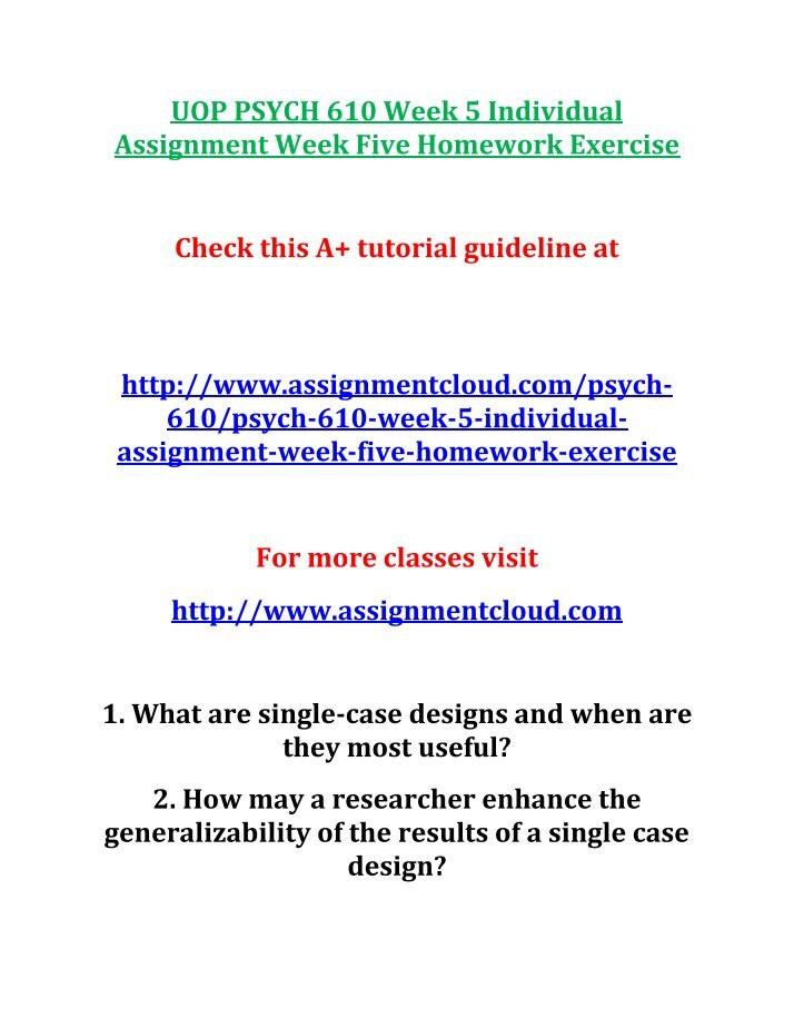 psych 625 week 1 individual assignment  time Free essay: psych 625 week 1 individual assignment time to practice click below link for answer.