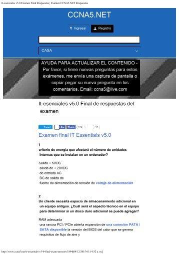 It-esenciales v50 Examen Final Respuestas  Examen CCNA5NET Respuestas