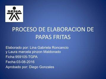 PROCESO DE ELABORACION DE PAPAS FRITAS M YL