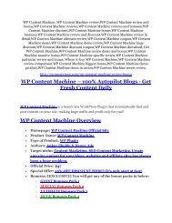 WP Content Machine review demo-- WP Content Machine FREE bonus