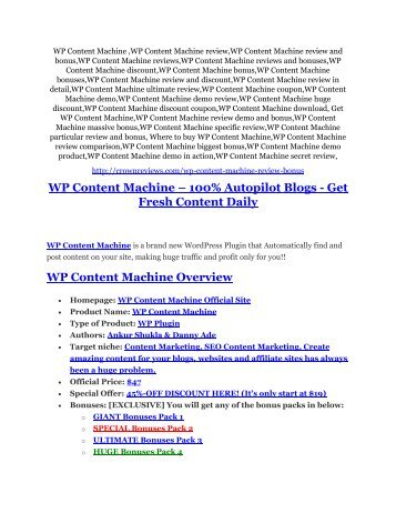 WP Content Machine review demo-- WP Content Machine FREE bonus