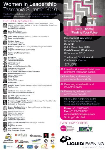 Women in Leadership Tasmania Summit 2016