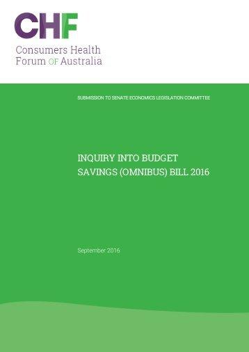 INQUIRY INTO BUDGET SAVINGS (OMNIBUS) BILL 2016