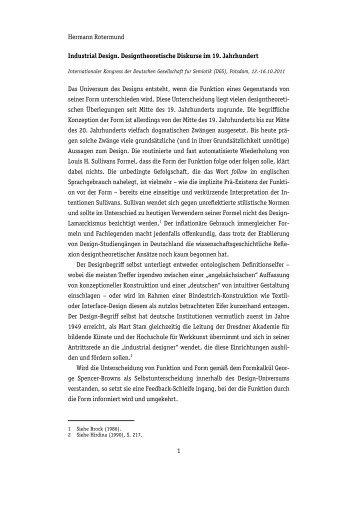 Hermann Rotermund Industrial Design. Designtheoretische ...