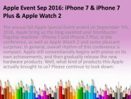 Apple Event Sep 2016 iPhone 7 iPhone 7 Plus Apple Watch 2