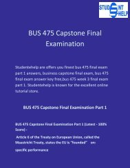 Student E Help : BUS 475 Capstone Final Examination Part 1 Questions with answers