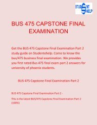 Student E Help   BUS 475 Capstone Final Examination Part 2 Questions & answers