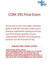 Student E Help - COM 295 Final Exam Questions & Answers