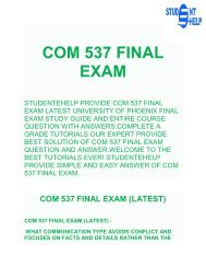 Student E Help | COM 537 - COM 537 Final Exam Questions & Answers