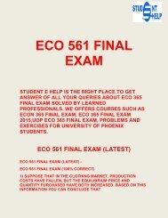 Student E Help - ECO 561 - ECO 561 final exam Questions & Answers