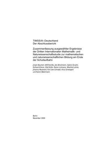 TIMSS/III–Deutschland Der Abschlussbericht ... - TIMSS - Germany