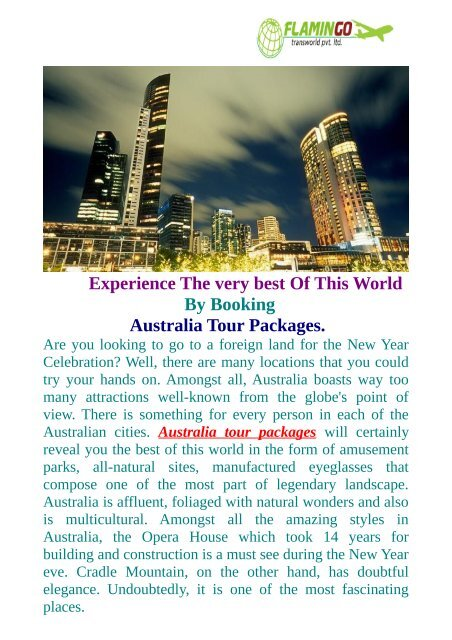 Australia Tour Packages -The Best Of This World Australia.