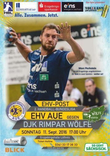 EHV-Post EHV Aue gegen DJK Rimpar Wölfe