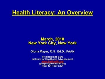 Health Literacy-An Overview--March 2010 - CUNY Institute for ...