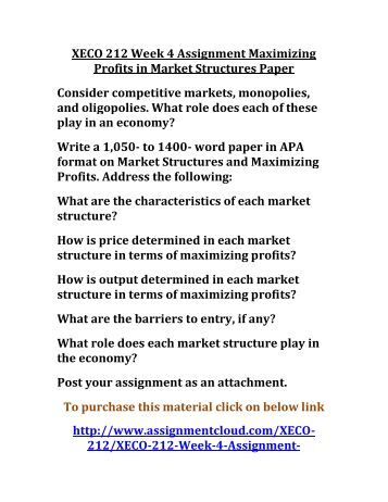 maximizing profits in market structures Maximizing profits in market structures paper xeco/212 december 16, 2012 maximizing profits in market structures paper today's economy has.