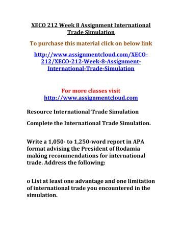 international trade concepts simulation essay