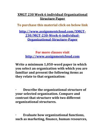 MGT 230 Week 4 Individual Assignemnt Organizational Structure Paper