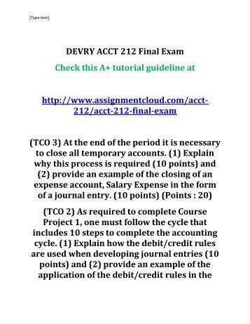 DEVRY ACCT 212 Final Exam
