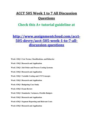 ACCT 505 Week 1 to 7 All Discussion Questions