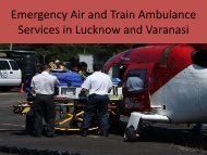 Emergency Air and Train Ambulance Services in Lucknow and Varanasi