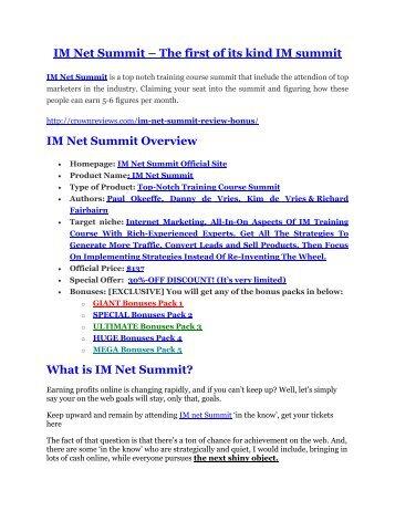 IM Net Summit review pro-$15900 bonuses (free)