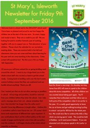 St Mary's Isleworth Newsletter for Friday 9th September 2016