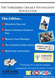 The Yorkshire Cricket Foundation Newsletter