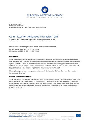 Committee for Advanced Therapies (CAT)