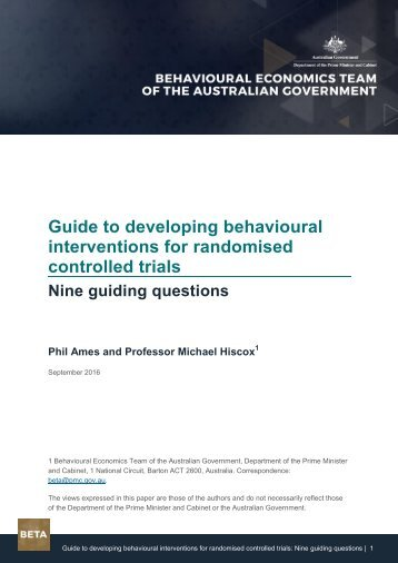 Guide to developing behavioural interventions for randomised controlled trials