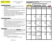 September 2016 Calendar and Curriculum