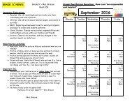 September 2016 Calendar and Curriculum