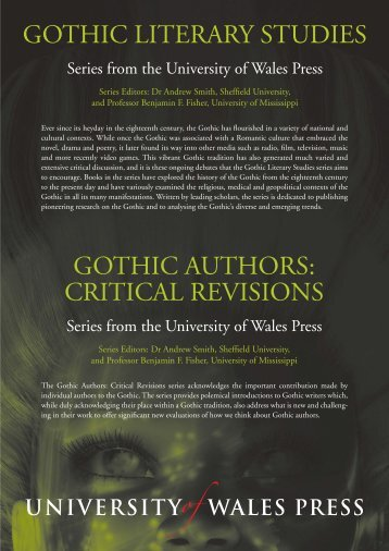 Gothic Literary Studies Gothic Authors Critical Revisions