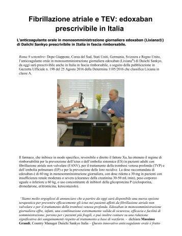 Fibrillazione atriale e TEV edoxaban prescrivibile in Italia