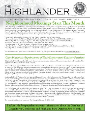 September Issue of the Highlander - Highland Park, IL