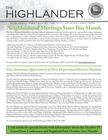 September Issue of the Highlander - Highland Park, IL