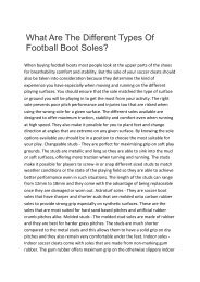 What Are The Different Types Of Football Boot Soles