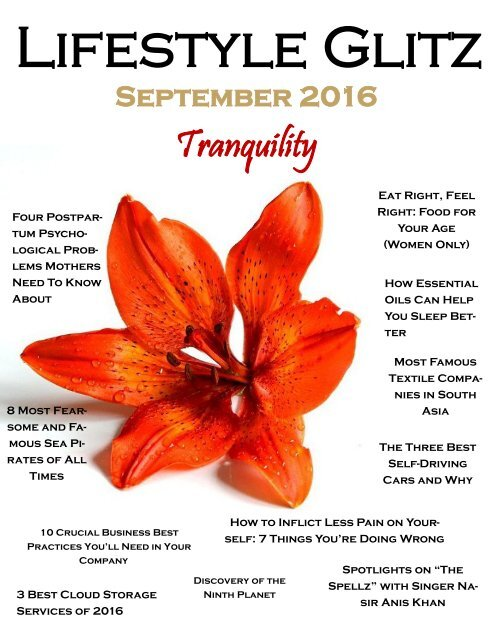 Lifestyle Glitz - September Tranquility 2016