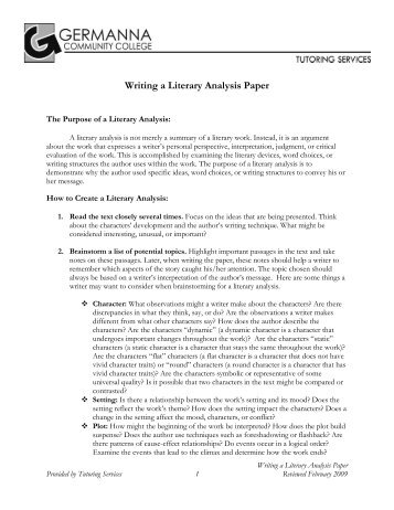Examples Of Literary Analysis Essays How To Write A Literary