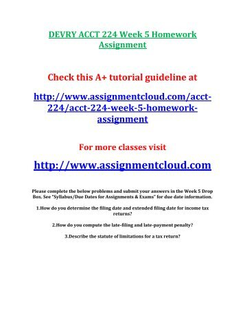 DEVRY ACCT 224 Week 5 Homework Assignment