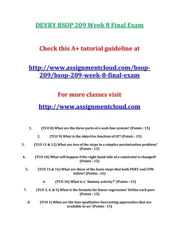 DEVRY BSOP 209 Week 8 Final Exam